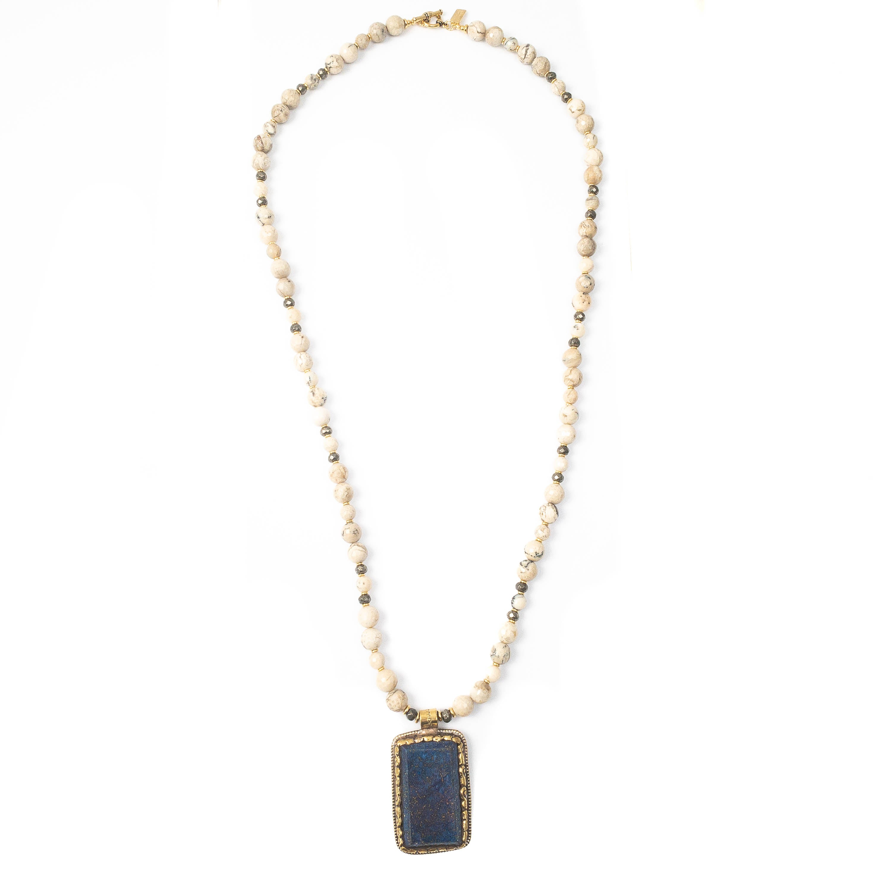 Nepali Repousse Lapis Pendant on African Opal Necklace