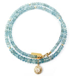 14k Gold & Diamond Charm Aquamarine Necklace