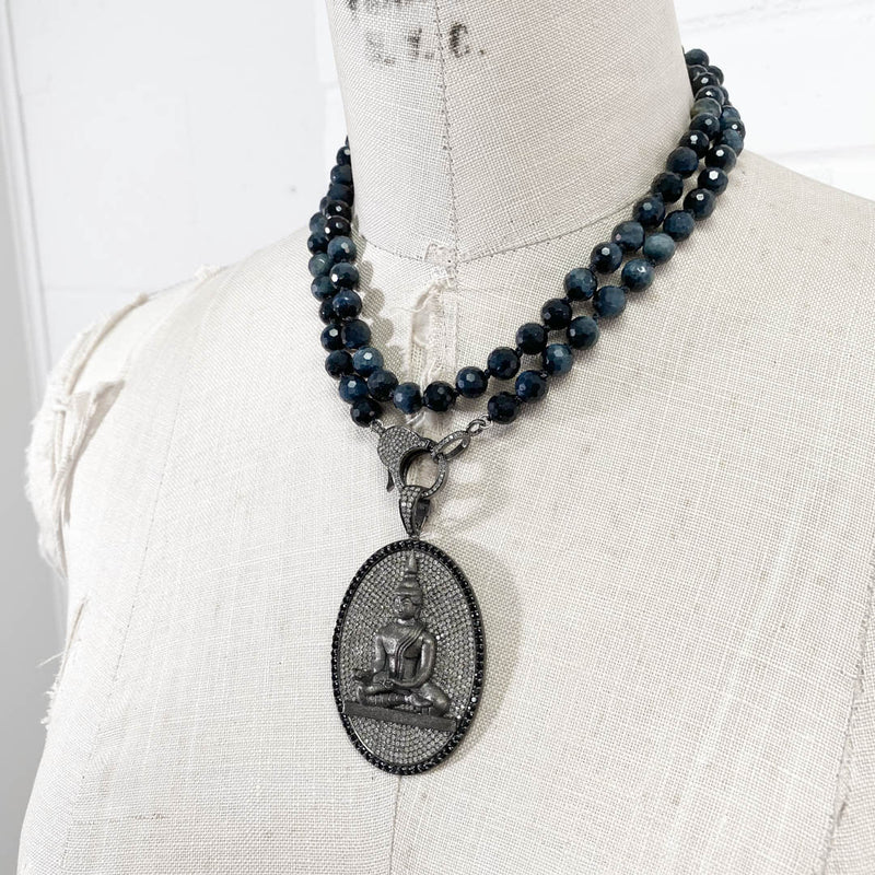 Diamond & Black Spinel Meditating Buddha Pendant on Blue Tiger's Eye Necklace