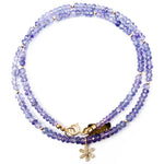 14k Gold & Diamond Flower Charm Tanzanite Necklace