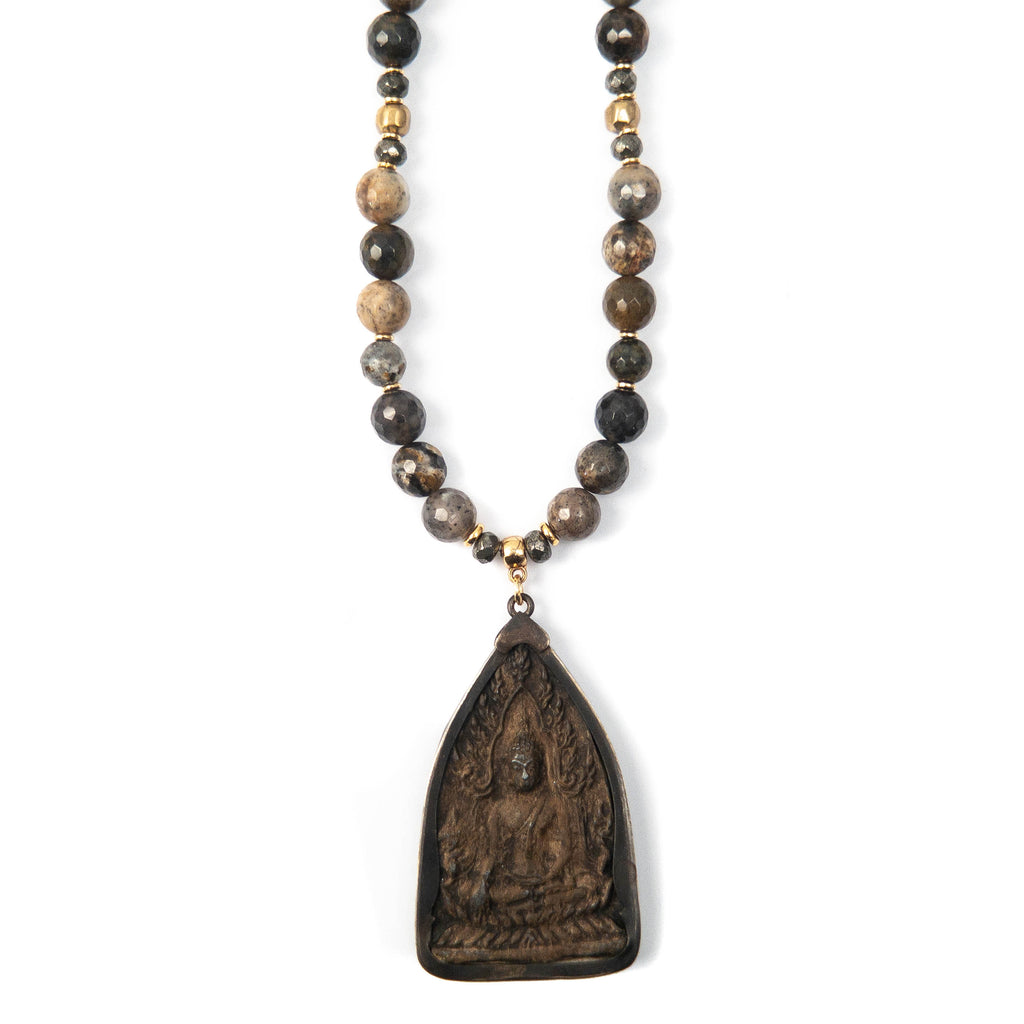 Carved Clay & Metal Thai Buddha Pendant on Sage Jasper Necklace