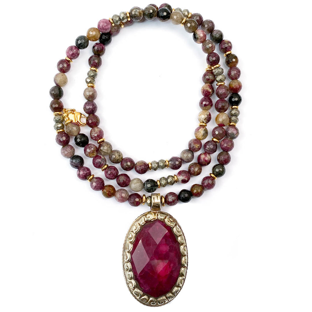 Nepali Repousse Dyed Ruby Pendant on Pink Tourmaline (Rubellite) Necklace