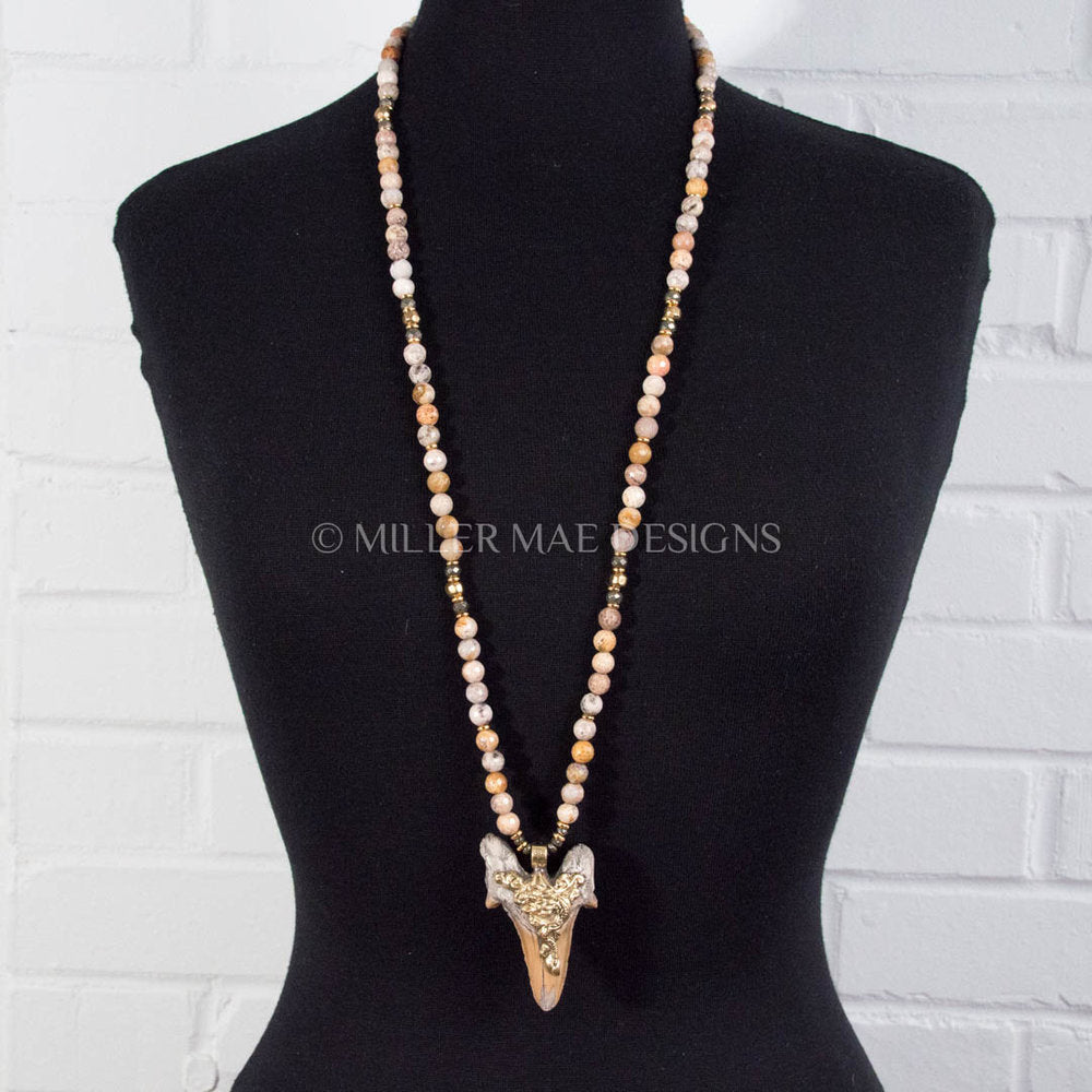 NEPALI SHARK TOOTH & FOSSIL CORAL NECKLACE