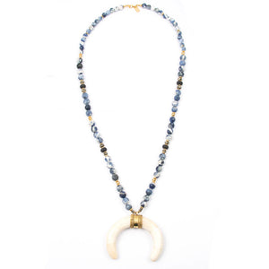 SODALITE & WHITE CRESCENT HORN NECKLACE