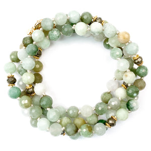Natural Faceted Burmese Jade Hand-Knotted Necklace