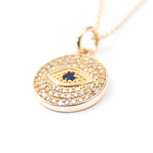 14kt Gold, Diamond, and Blue Sapphire Evil Eye Charm Necklace