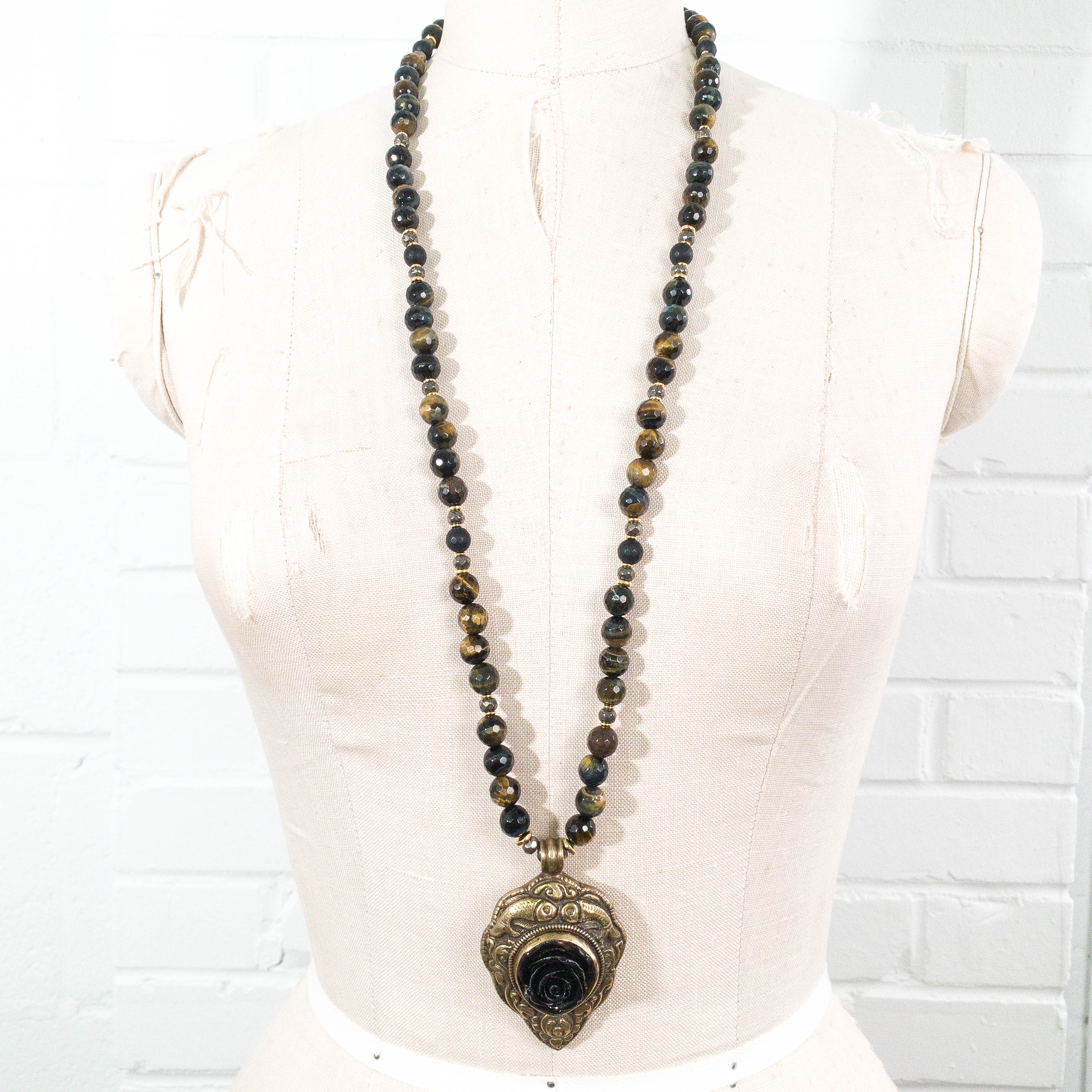 Nepal Obsidian Carved Rose Repousse Pendant on Black Tiger's Eye Necklace
