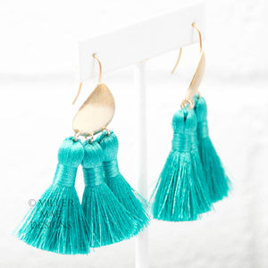 TURQUOISE BOHEMIAN TASSEL EARRINGS