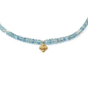 14k Gold & Diamond Pendant on Aquamarine Necklace