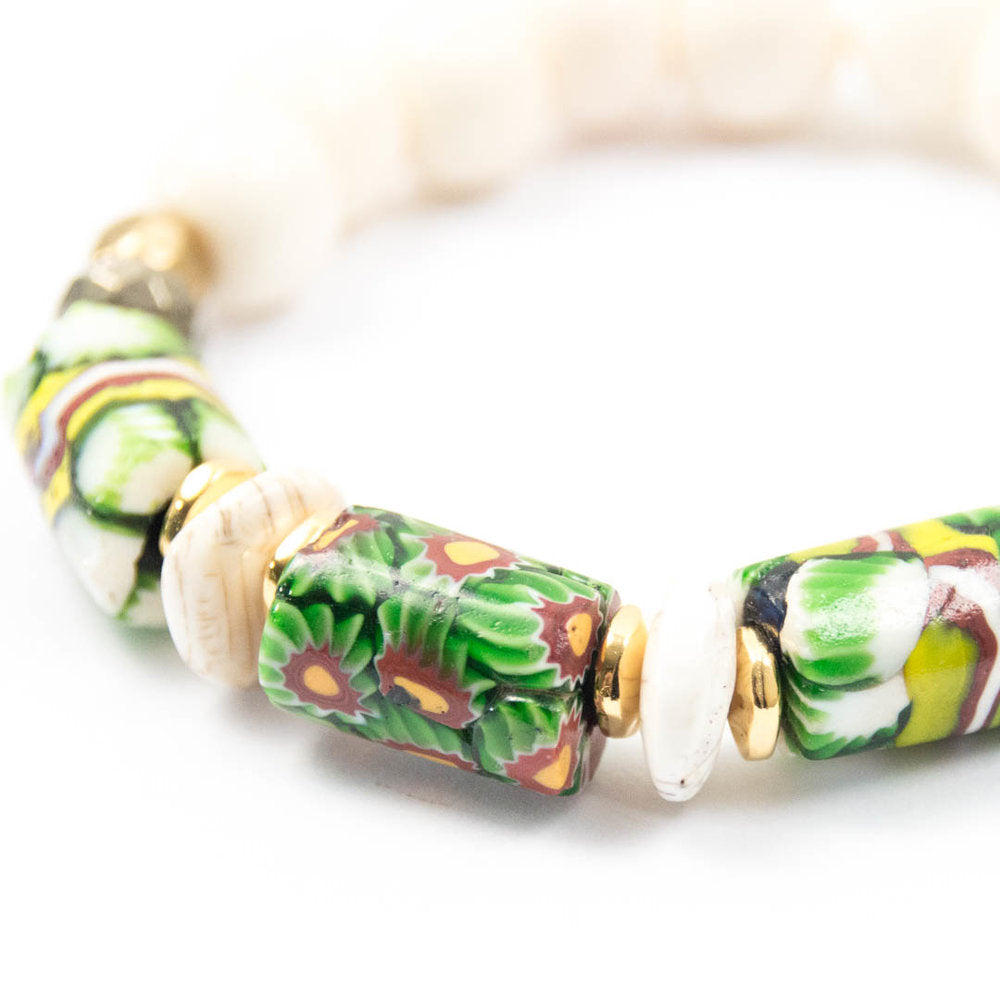 green African millefiori trade bead conch naga shell beaded elastic bracelet miller mae designs