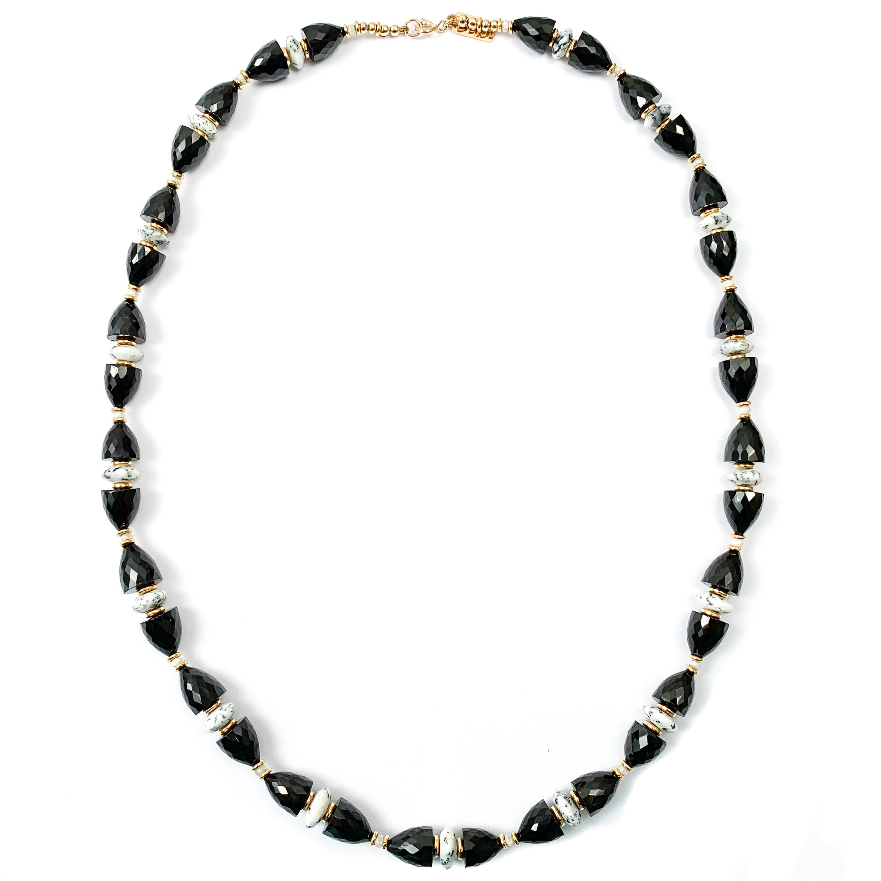 Black Spinel & White Dendritic Opal Necklace