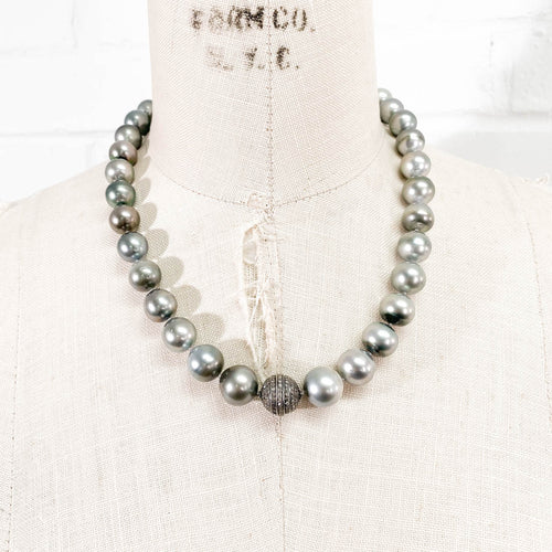 Pavé Diamond Tahitian Pearl Necklace