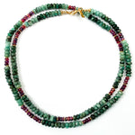 Emerald & Pink Kyanite Strand Necklace