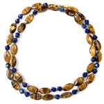 Golden Tiger's Eye & Royal Blue Lapis Lazuli Strand Necklace