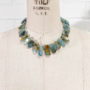 14k Gold Feathered Rutilated Aquamarine Necklace