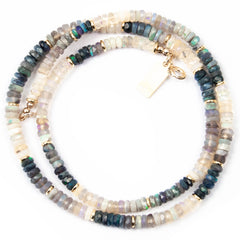 Black and White Australian Opal Heishi Choker Necklace