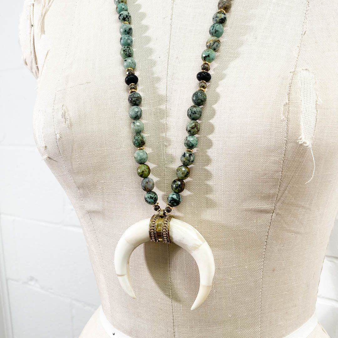 White Crescent Horn & African Turquoise Necklace