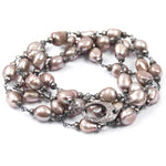 Beige-Pink Baroque Pearl & Pyrite Diamond Clasp Necklace