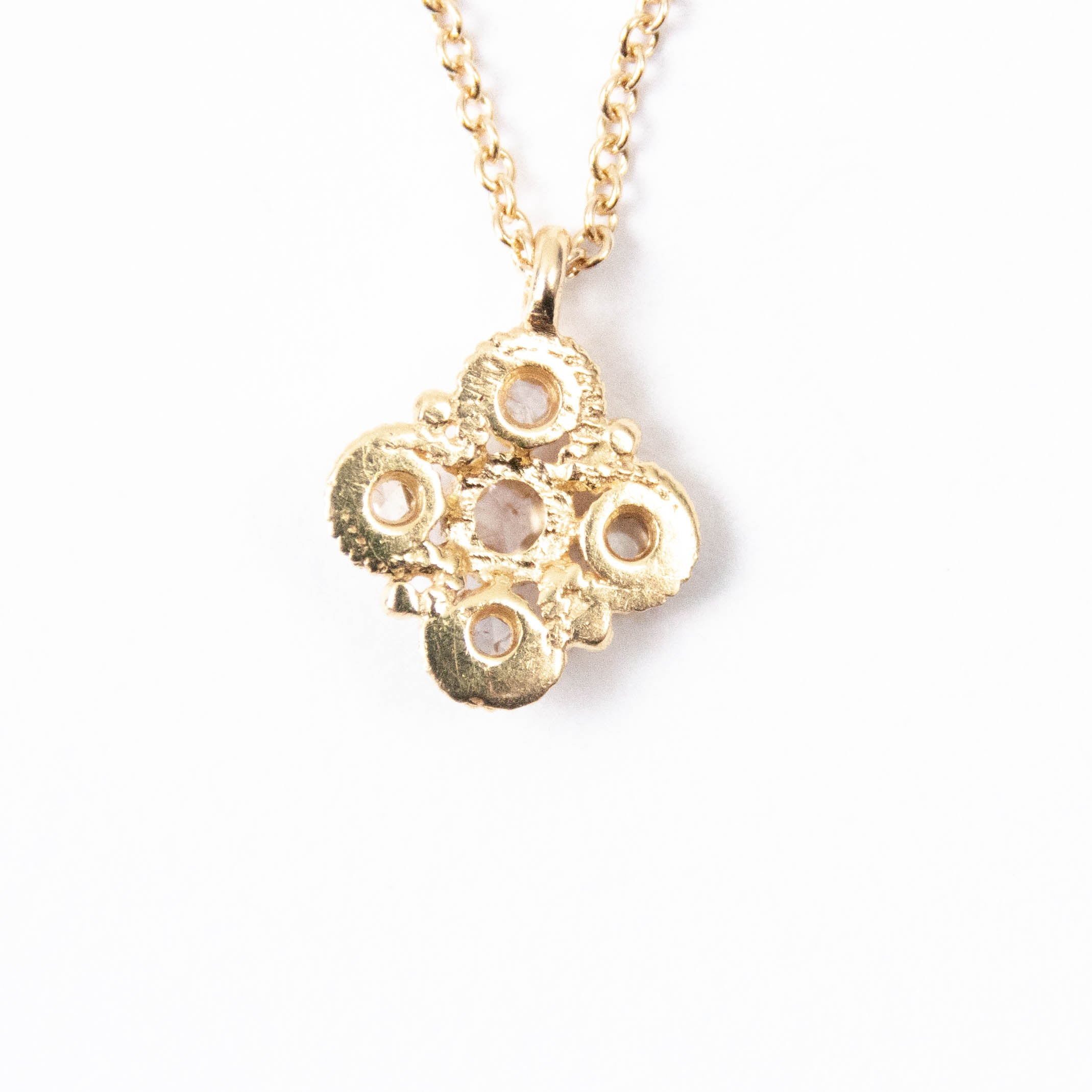 14kt Gold & Diamond Four Leaf Clover Charm Necklace