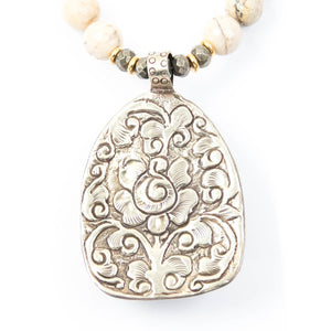Silver Repousse Pendant Handmade in Nepal on African Opal Necklace