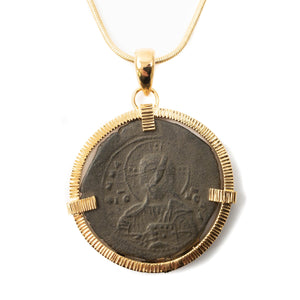 Genuine Byzantine Coin Necklace (CHRIST, KING OF KINGS ANONYMOUS FOLLIS; 1078-1081 AD)