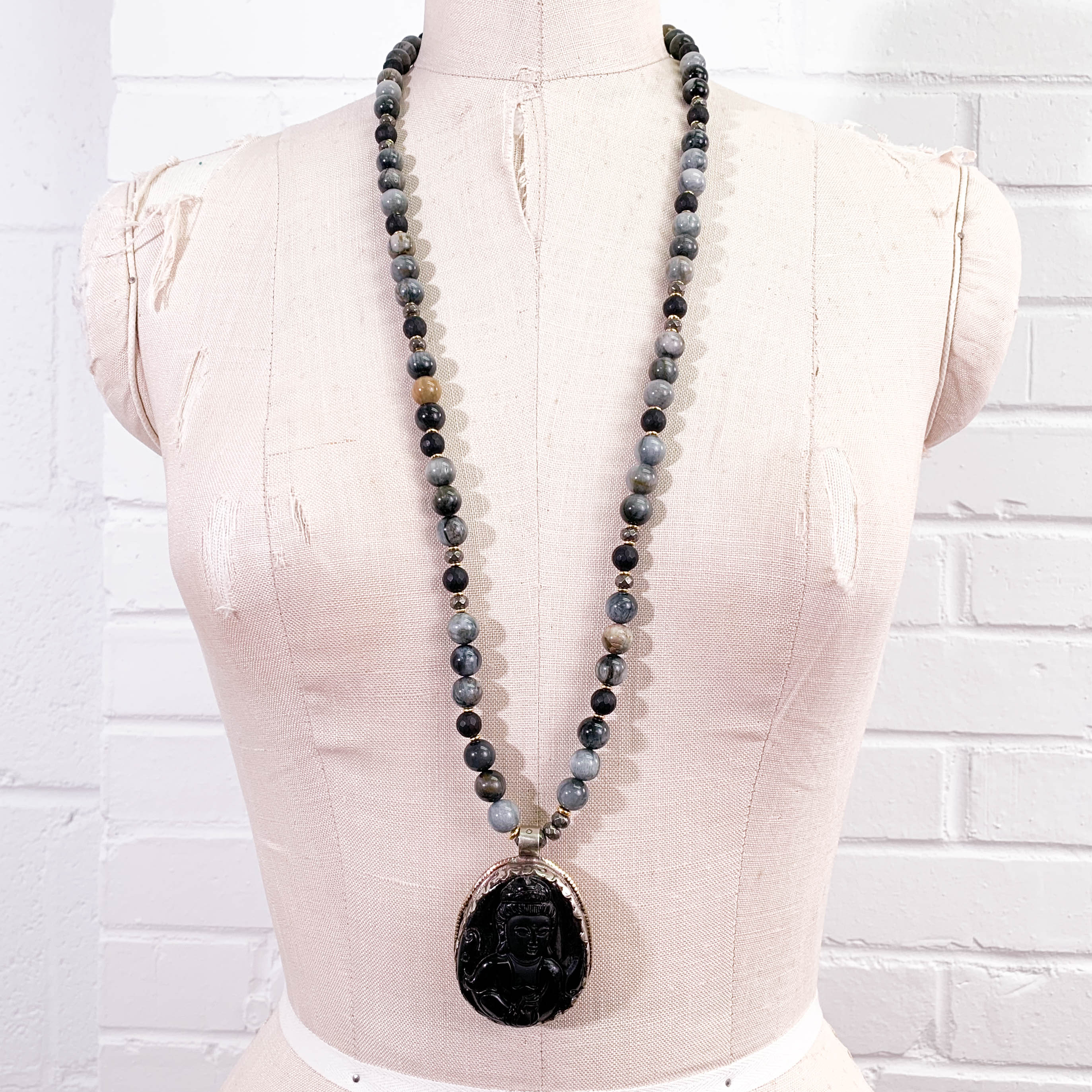Obsidian Carved Buddha Pendant, Hawk's Eye, & Onyx Necklace