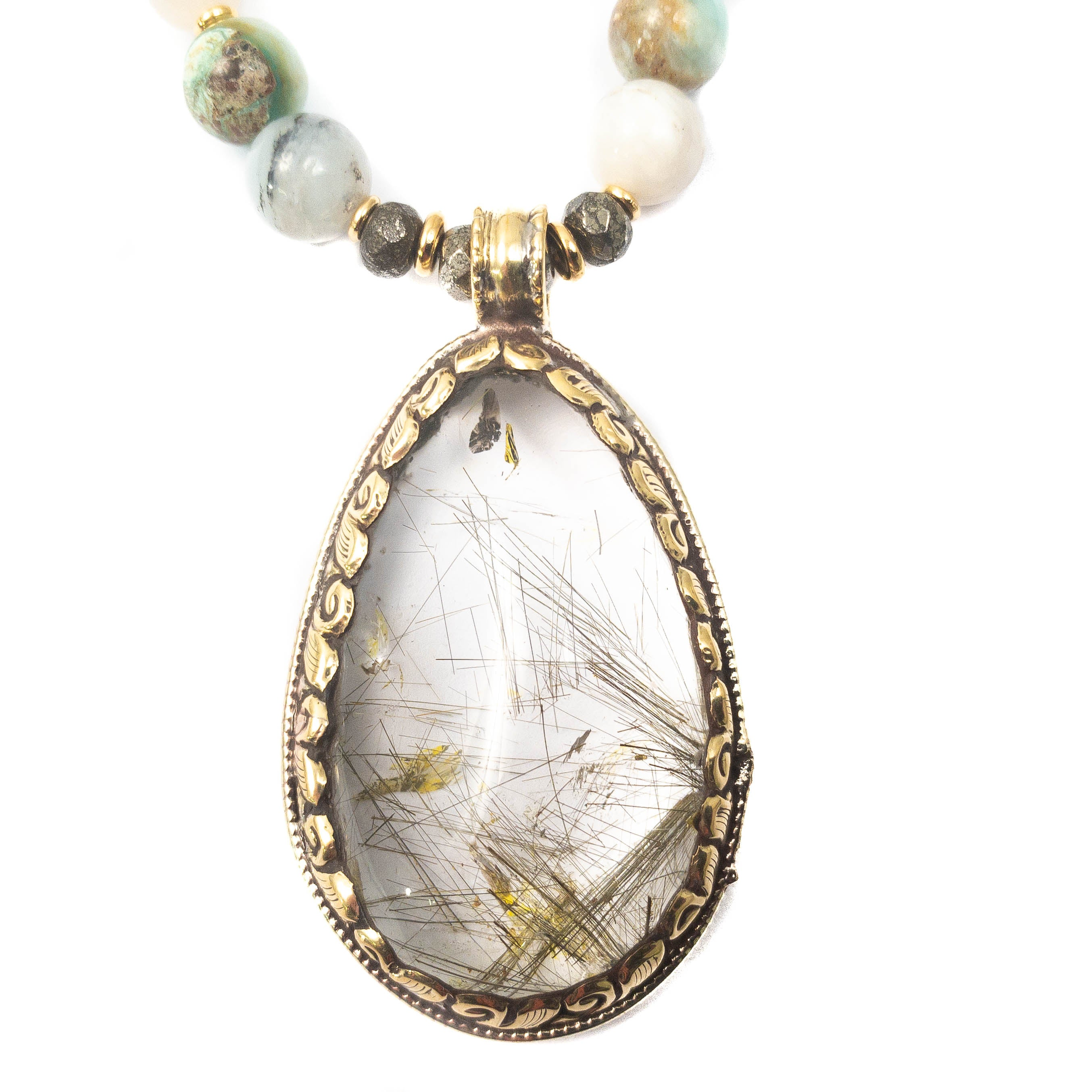 Nepali Repousse Golden Rutilated Quartz Pendant on Natural Peruvian Opal Necklace