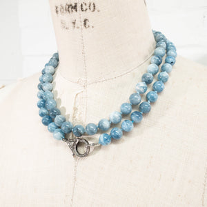 Rose Cut Diamond Clasp & Aquamarine Knotted Necklace