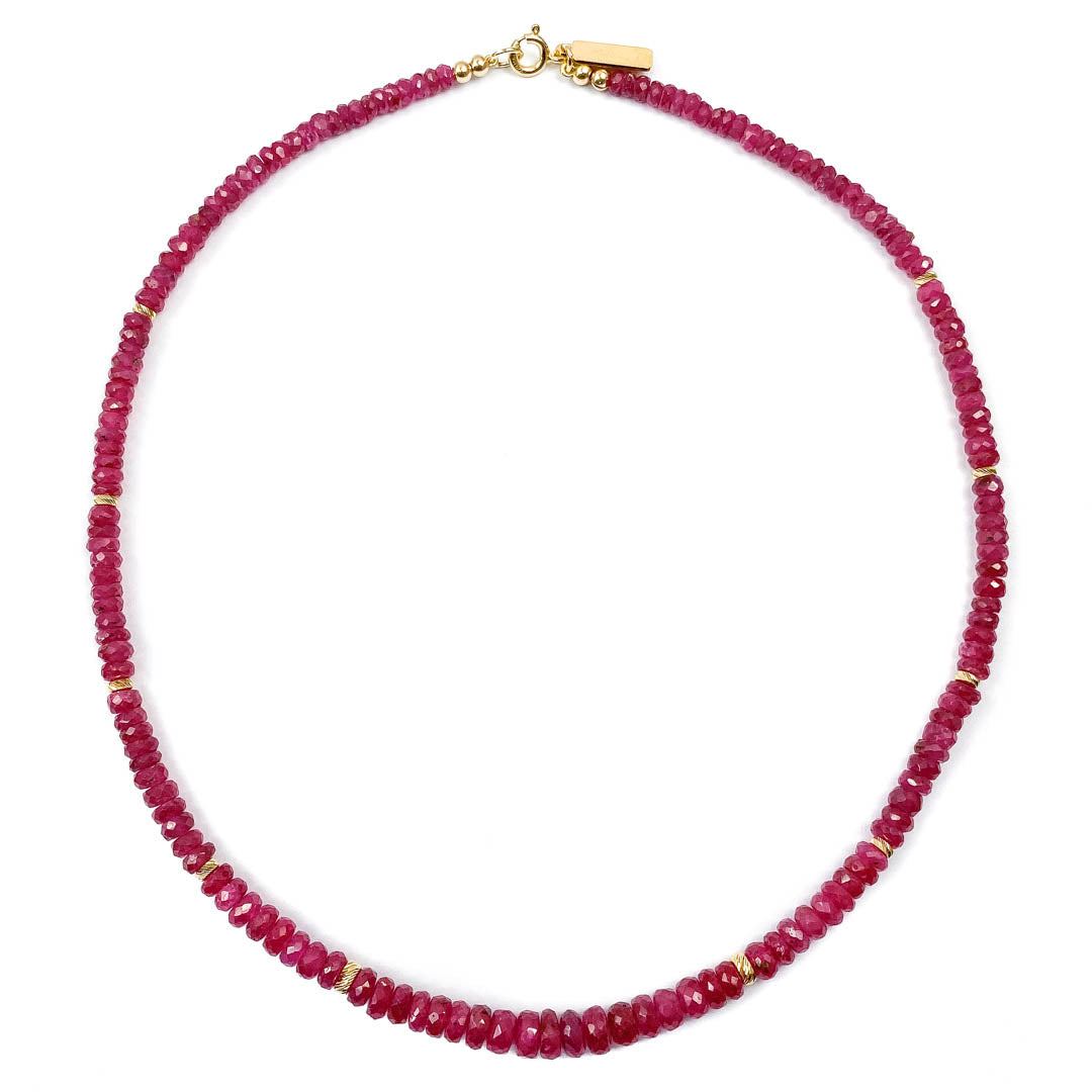 14k Gold & Natural Ruby Necklace