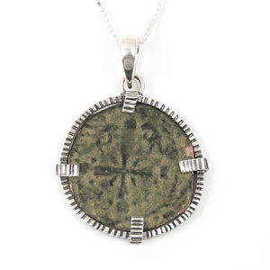 Genuine Byzantine Coin Sterling Necklace (CHRIST, KING OF KINGS ANONYMOUS FOLLIS; 1078-1081 AD)