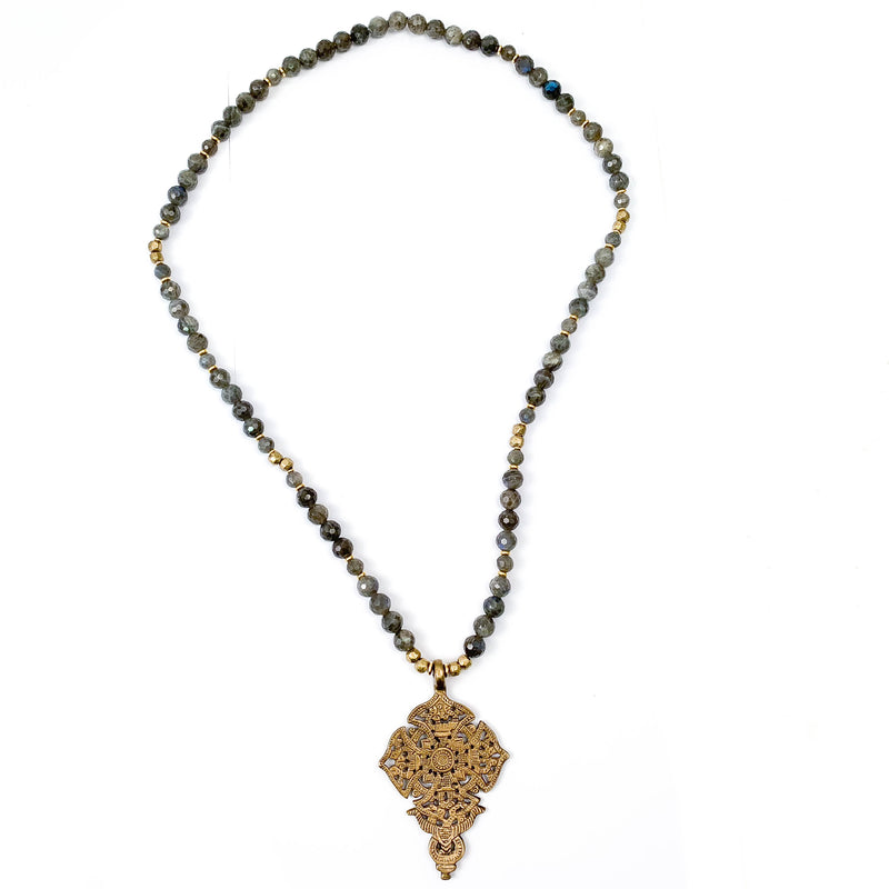 Brass Cross & Madagascar Labradorite Necklace