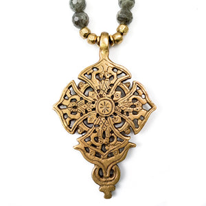 Ethiopian Cross & Madagascar Labradorite Necklace