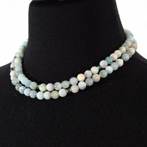 AQUAMARINE & APATITE STRAND NECKLACE