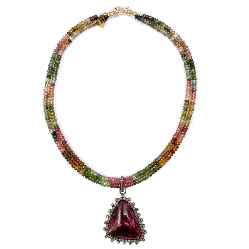 Pavé Diamond Eudialyte Pendant on Watermelon Tourmaline Necklace