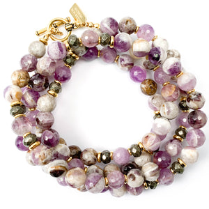 Amethyst & Pyrite (Fool's Gold) Strand Necklace