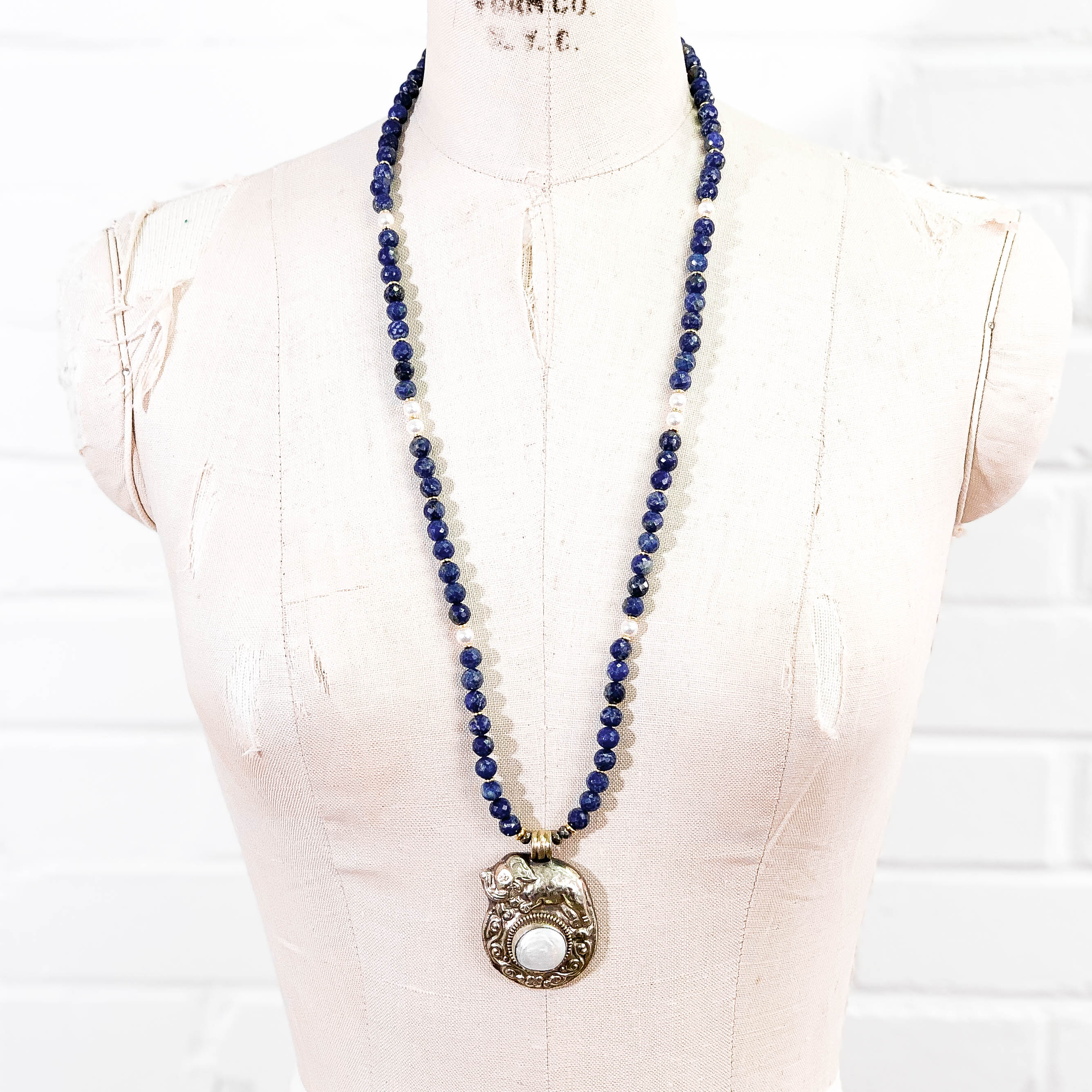 Nepali Mother of Pearl Elephant Pendant on Lapis Lazuli & Swarovski Glass Pearl Necklace