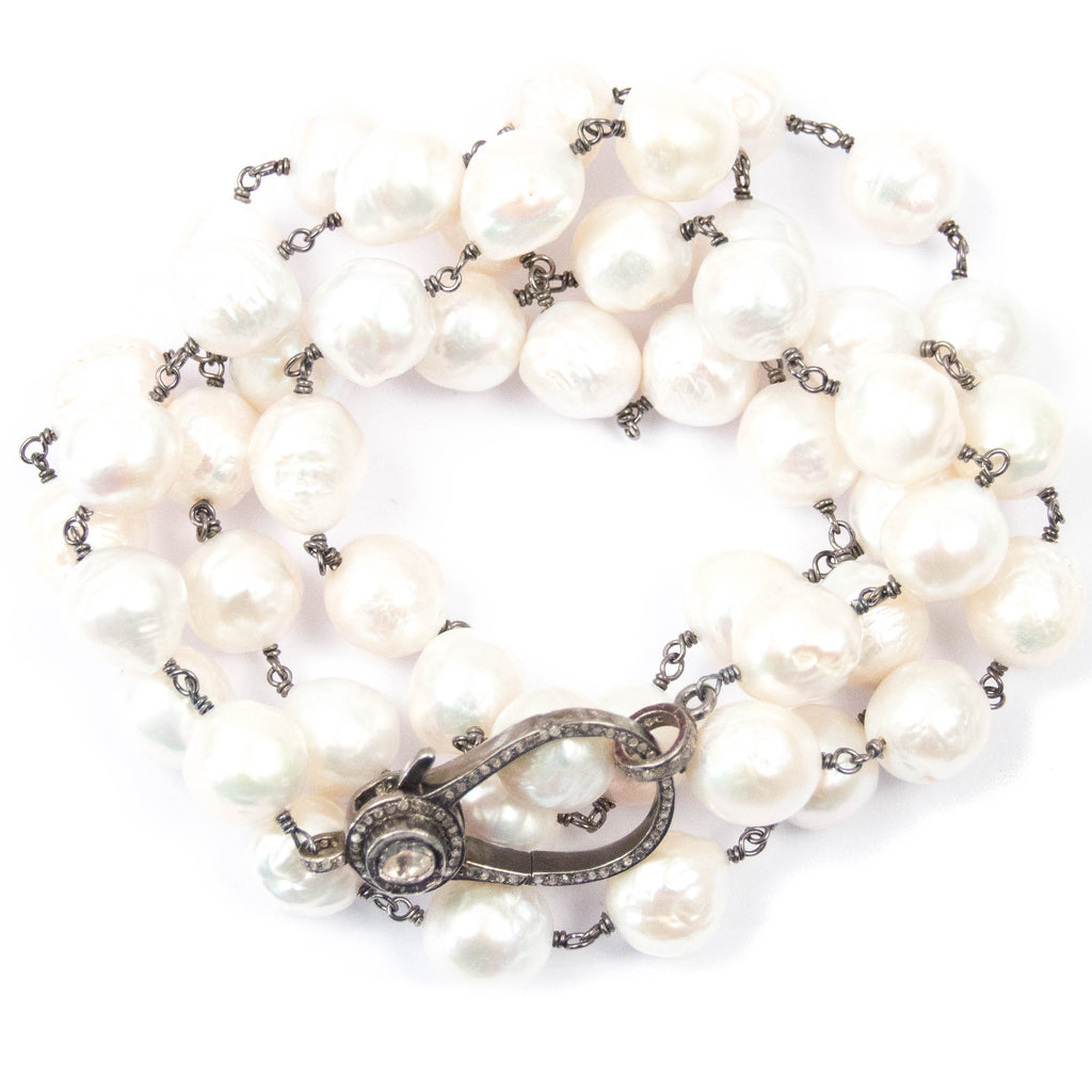 White Ultra Baroque Pearl & Polki Diamond Clasp Necklace