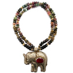 Nepali Ruby Elephant on Watermelon Tourmaline Necklace