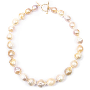 Golden Baroque Pearl Knotted Necklace