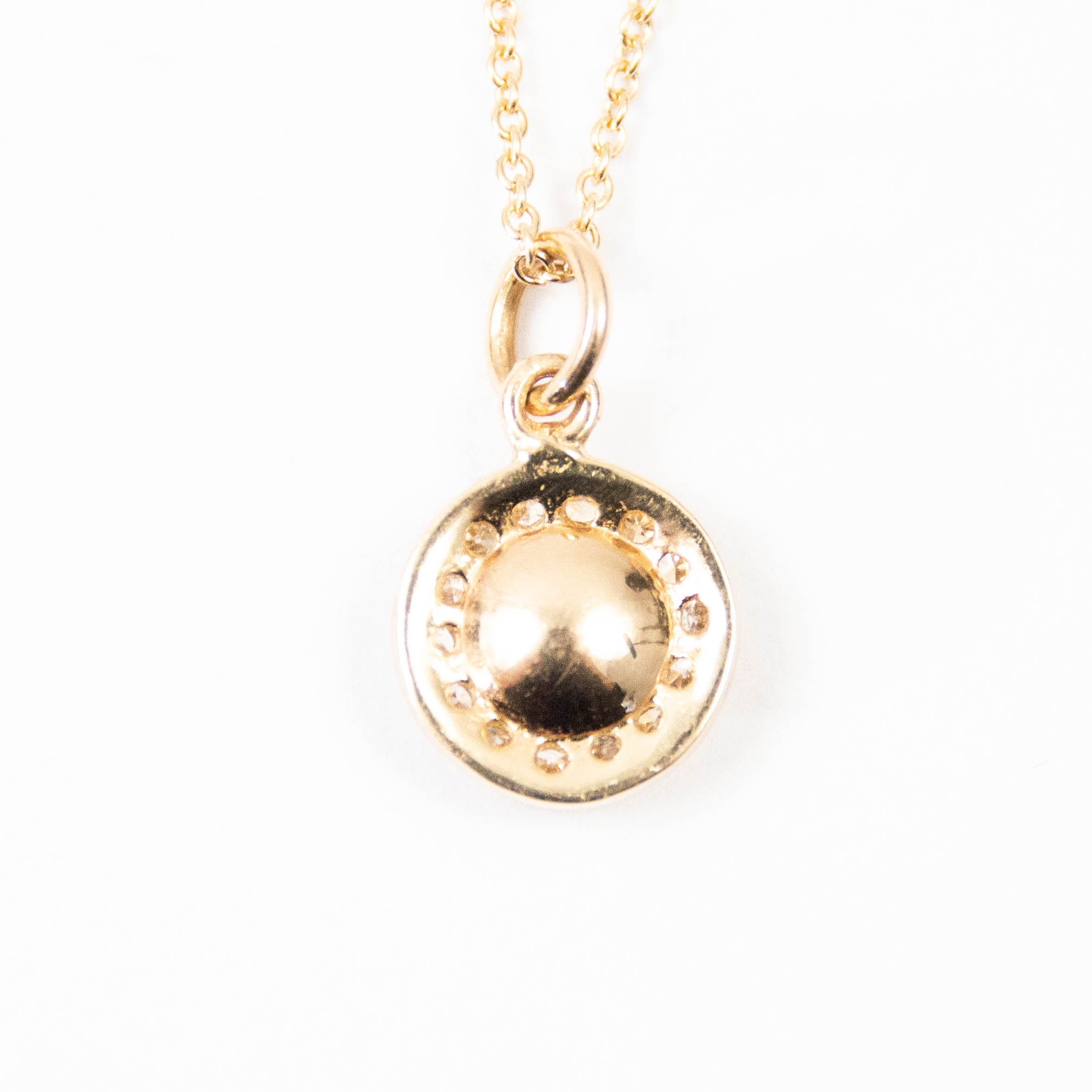 14kt Gold & Diamond Circle Disc Necklace