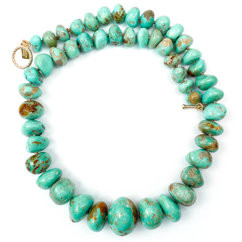 Large Natural Elisa Turquoise Knotted Necklace