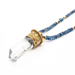 Tibetan Repousse Quartz Point Pendant on Kyanite Necklace