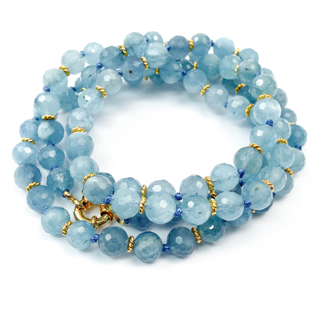 AAA Aquamarine Hand-Knotted Strand Necklace