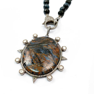Pavé Diamond Pietersite Pendant on Hand-Knotted Natural Blue Tiger's Eye Necklace