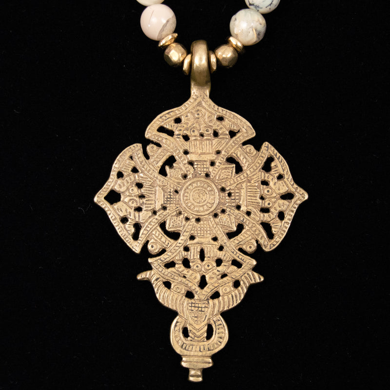 African White Opal & Brass Cross Necklace