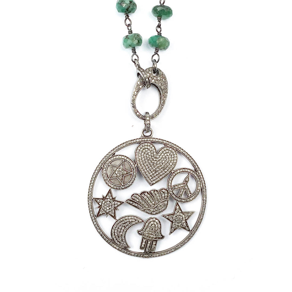 Pavé Diamond Lucky Symbol Pendant on Wire Wrapped Emerald Necklace