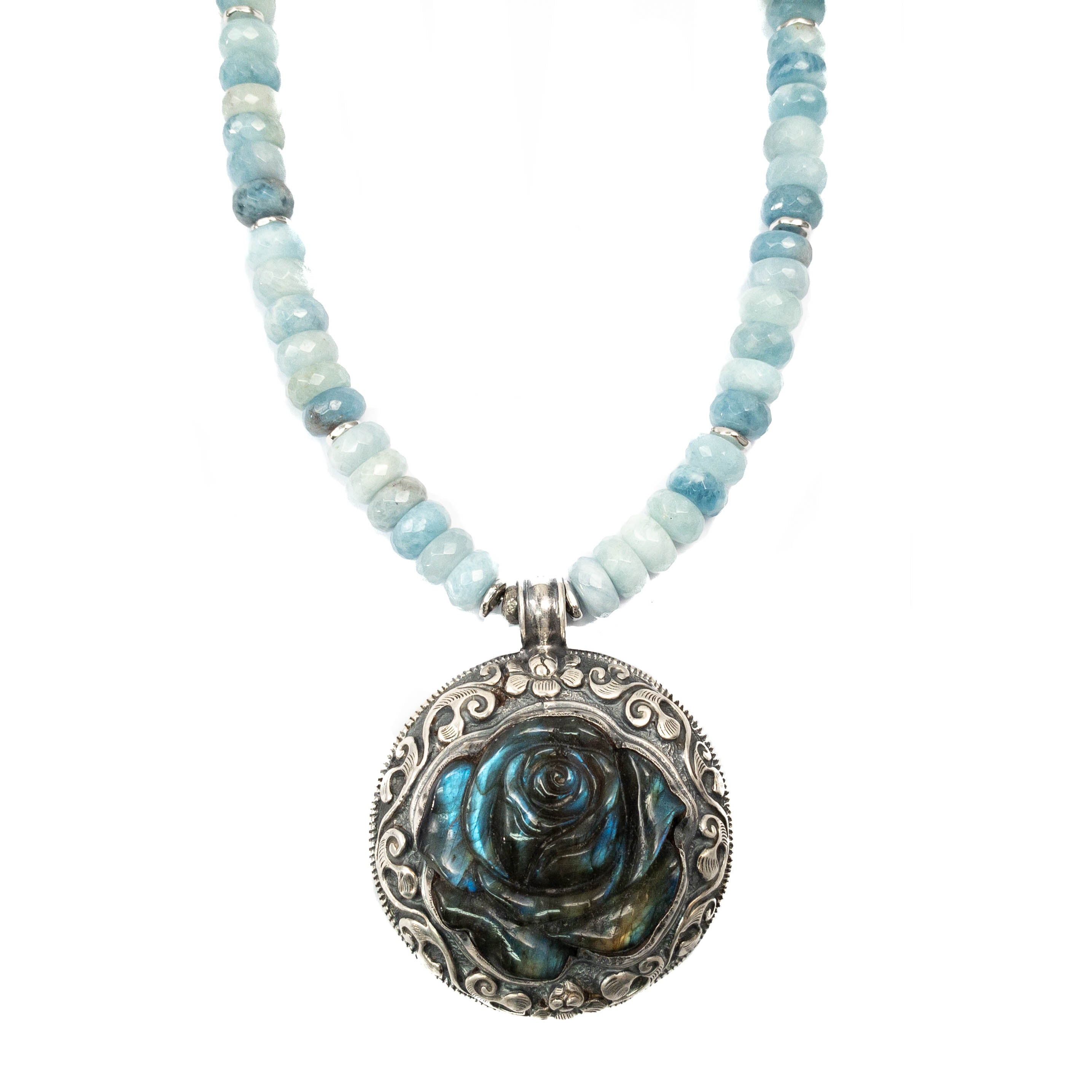 Sterling Silver Nepali Repousse Labradorite Rose Pendant on Aquamarine Necklace