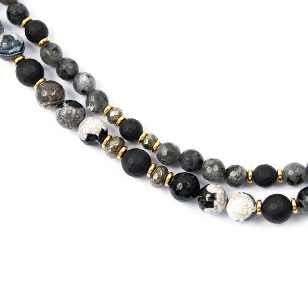 MARBLED LABRADORITE, AGATE, & MATTE ONYX DOUBLE STRAND NECKLACE