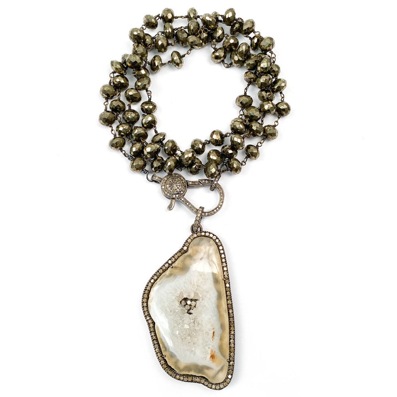 Pavé Diamond Druzy Quartz Pendant on Wire Wrapped Pyrite Necklace