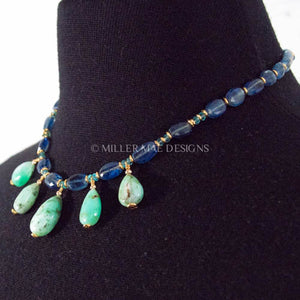 CHRYSOPRASE DROP, KYANITE, & APATITE NECKLACE